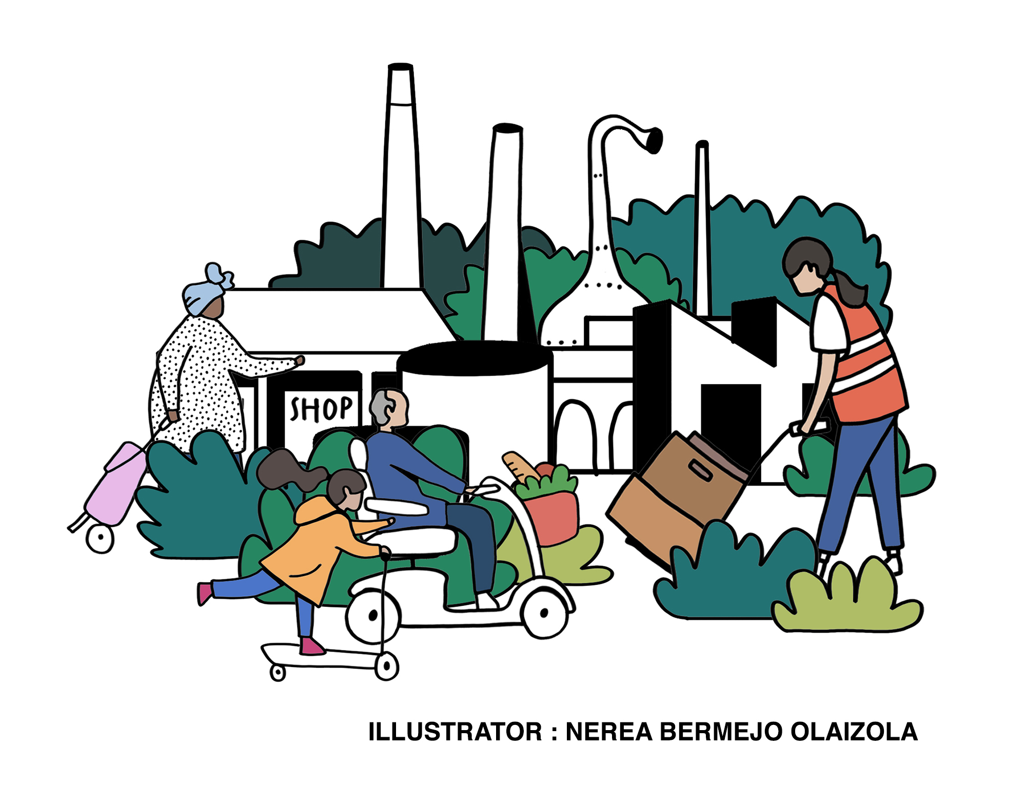 We have worked with the award-winning Architectural Illustrator Nerea Bermejo to develop an illustrative map and visualisations for the Garden Town. The drawings aimed to be engaging and lively, conveying the aspirations of the proposed Garden Town along with the rich narrative of Harlow. We hope this helps to communicate the Garden Town vision in a spatial way and which celebrates the area's existing identity and ambitious future in a clear, easy to interpret and informal way.